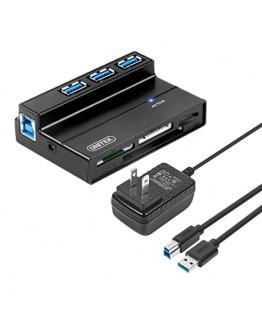 Unitek Flash Memory Card Reader, 3-Port USB 3.0 USB Hub SD MS CF TF M2 Card Reader Combo