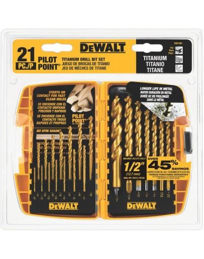 DEWALT Titanium Pilot Point Drill Bit Set, 21-Piece
