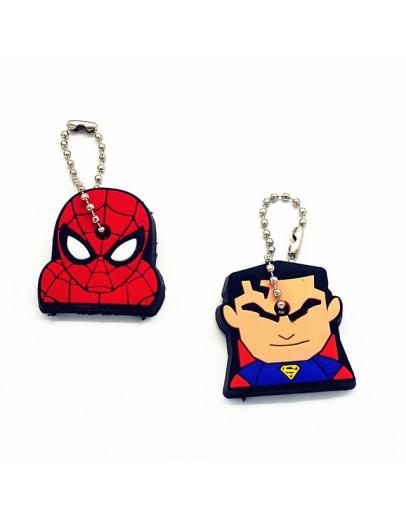 2Pcs/set Cute Cartoon SuperMan & Spider-Man Key Cover