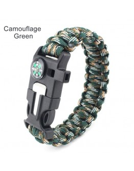 Outdoor Survival Bracelet Camping Hiking Gear with Compass, Fire Starter, Whistle And Emergency Knife