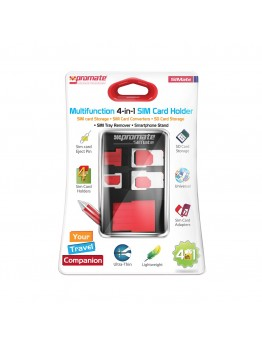 Promate SIMate Card Storage Kit with Sim Card Holder, Sim Car Adapter, Eject Pin, SD Card Case