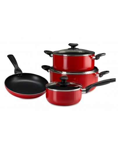 Alberto 7pcs non-stick Cookware set with Glass lid, Red - 7324