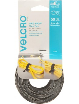 VELCRO Brand ONE WRAP Thin Ties | Strong & Reusable | Perfect for Fastening Wires & Organizing
