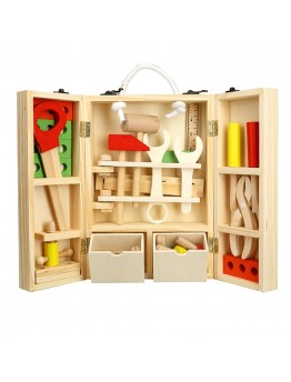 Kids Wooden Tool Box Set Construction Toys Wooden Toys for Children Pretend Play Kids Tool Toy Set