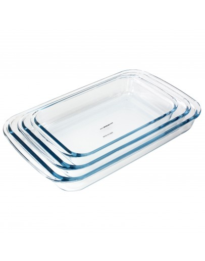 ALBERTO 3-Piece Glass Rectangular Roaster Set Clear