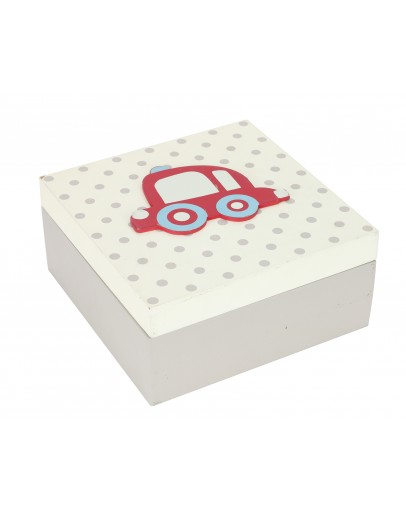 Child Storage Box With a Red Car 15*15*7cm - 0496