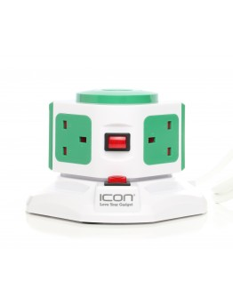 Icon Portable Multiple Socket-outlet 3 outlets & 2 USB Ports Green color