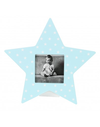 Wooden Photo Frame blue with  White Stars - 4103