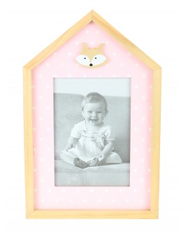 Woodn Photo Frame, Pink with White Starts - 3885