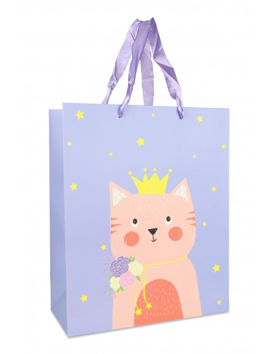 Divina Blue Large bag With Pink Cat 26x12x32cm