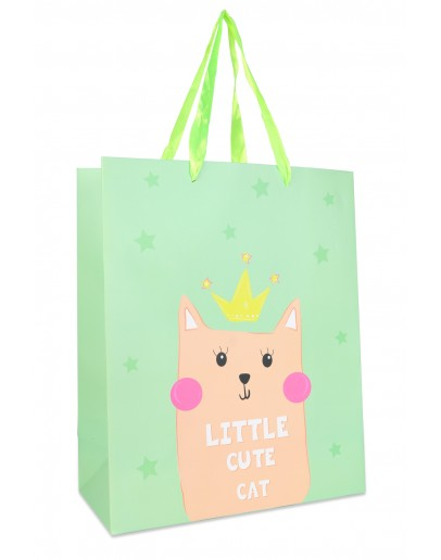 DIVINA GREEN SMALL BAG WITH PINK CAT 18X10X23CM