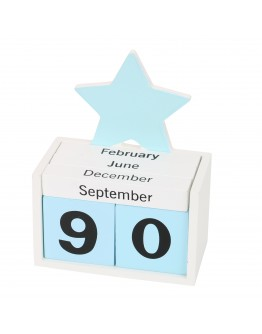Wooden Desk Calender, Blue & White - 4073