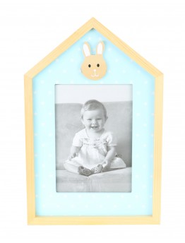 Woodn Photo Frame, blue with White Starts - 4066