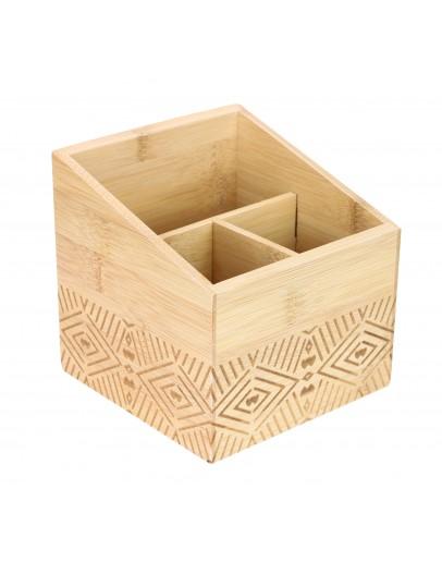 Alberto Bamboo Carved Utensil Box - 0633