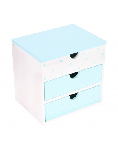 Small Cabients With Three Drawers For Kids, Wlue & White 12.50*13*10cm  - 3960