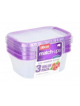 Decor 3pcs Set Plastic Food Containers 500ml each
