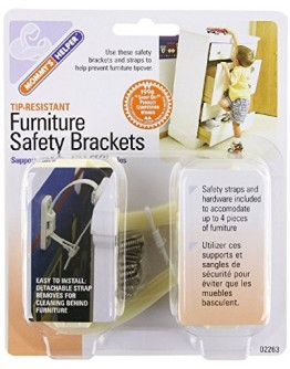 Mommy's Helper Tip-Resistant Furniture Safety Brackets, Ivory, 8-Pack