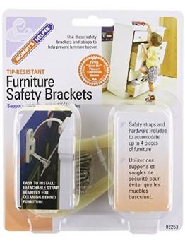 Mommy's Helper Tip-Resistant Furniture Safety Brackets, Ivory, 8-Pack