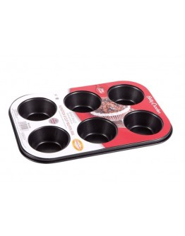 6-Cup Texas Muffin Pan Grey 26.5x18.5x3 centimeter - 5467