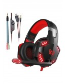 KOTION EACH G2000 3.5mm Game Gaming Headphone Headset Earphone Headband with Microphone LED Light for Computer Tablet Mobile Phones PS4 by Senhai- Black and Red