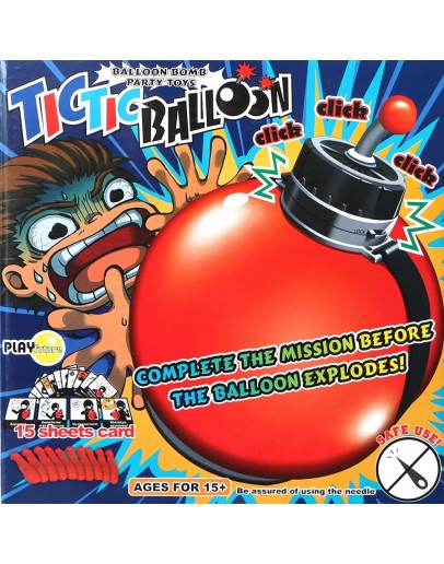 TicTic Balloon timing bomb board game, complete mission before balloon explodes, family game