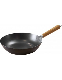 ALBERTO Non Stick Round Wok Pan With Wood Handle Black/Brown 25centimeter - 7785