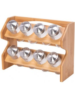 Alberto 8-Piece Spice Jars With Rack Brown/Silver/Clear - 0817