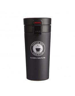 كوب قهوة حافظ للحرارة و البرودة 380 مل مع غطاء لون أسود