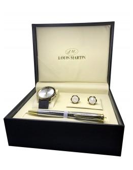 طقم ساعة رجالي من لويس مارتن مع قلم وكبك