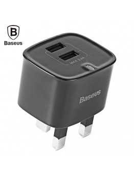 Baseus Funzi Dual USB 2.4A Plug - باسيوس فانزي شاحن منزلي بمخرجين شحن حتي 2.4 امبير