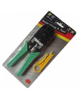 داة كماشة الثني/القص/التعرية لوحدة الشبكة المزدوجة أسود/أخضر - Wire Cable Crimper Tool Multicolour
