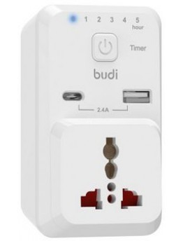 BUDI 3 PIN TIMER HOME CHARGER 12 WATT WITH TYPE-C CONNECTER M8J313U