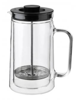صانعة القهوة والشاي-  طبقة مزدوجة زجاج - حجم 0.9 لتر