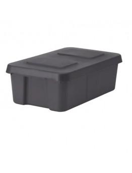صندوق تخرين مع غطاء- رمادي غامق